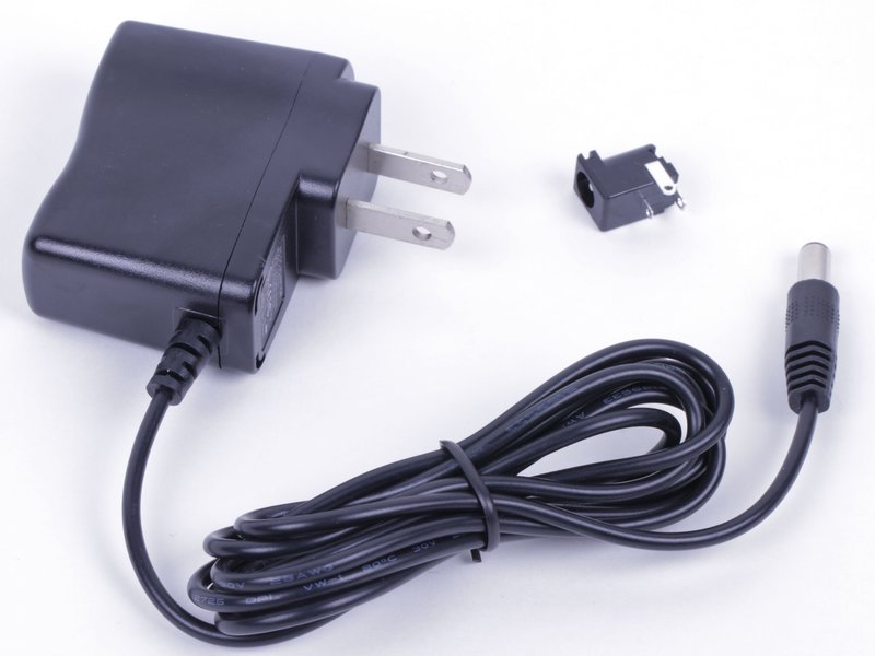 5 V plug-in power supply, shown with jack (sold separately).