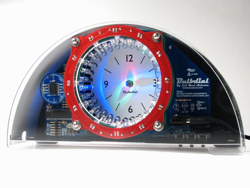 Bulbdial clock with clear/black acrylic case