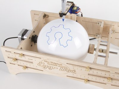 Ostrich Eggbot with 6-inch diameter white sphere